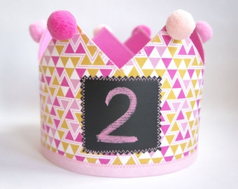 Birthday Crown with Chalkboard front sign, Princess, Dressing up, Imaginary play, reversible. Baby month pictures. Party accessory