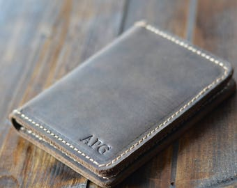 Personalized Bifold Leather Wallet, Men's Wallet, Minimalist Leather Wallet, Slim Leather Wallet, Distressed Leather Wallet, Chestnut Brown
