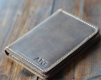 Personalized Bifold Leather Wallet, Perfect Groomsmen Gift, Minimalist Leather Wallet, Distressed Leather Wallet, Chestnut Brown