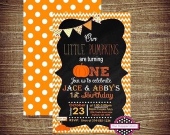 Fall Party Invite/Custom Invitation/Pumpkin Theme Invitation/Dual Birthday Invitation/Fall Invite/Orange Party/Chevron Invite/Fall Birthday