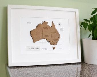 Custom Map of Australia, Australia Map, Laser Cut Map, Australia Decor, Custom Map Art, Australia Map Wall Art, Home Decor 8x10 or A4
