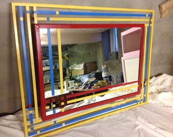 Hand painted mirror, metal framed mirror, Mondrian mirror, large mirror, upcycled mirror
