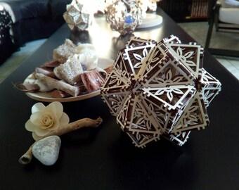 Poplar 04-triakis icosahedron from 4 mod. mm laser cut.