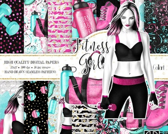 Fitness Digital Paper Pack, Watercolor Digital Papers, Pink and Mint Backgrounds, Fashion Illustration, Planner Supplies, Stickers, Workout