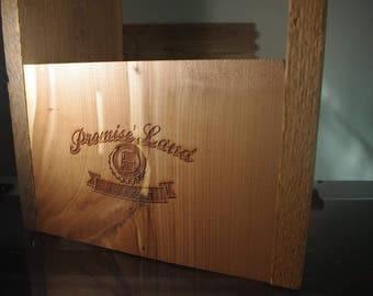 Custom made, Custom Engraved Wooden 6-Pack Beer Carrier