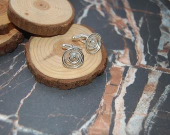 Silver 'Tempest' swirl cufflinks