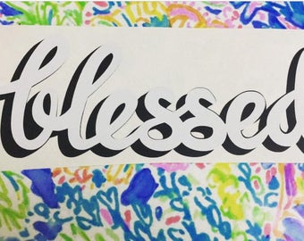 Blessed 2-color vinyl decal