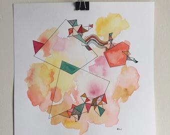 Geometry, humming // original watercolor & ink