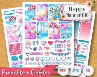2017 2018 Hot Air Balloon Purple Sky Aeroplane Travel Planner Stickers Digital Kit Planner Printable BIG Happy Planner Sticker Kit Cut Print