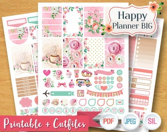2017 2018 Sweet Pink Spring Floral Flower Valentine Weekly Planner Sticker Digital Planner Kit Printable BIG Happy Planner Stickers SALE OFF