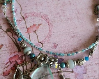 Double strand aqua beaded necklace