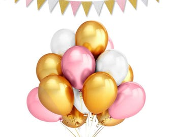 Gold, Pink and White Party Balloons (24) | Birthday Balloons |Baby Shower Balloons | Wedding Balloons | Balloon Bouquet