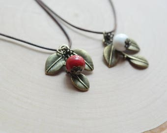 Ceramic White & Red Berry Leaflet Pendant Necklace Waxed Linen Cord For Women/ Girls Jewelry