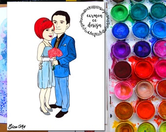 Custom Cartoon Portrait, Family Portrait Illustration, Personalised Gift, Hand Drawn, Gift for Her, Gift for Him, Gift Idea, Bespoke Gift