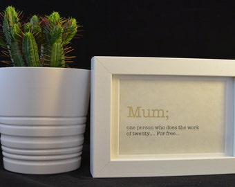 Urban Dictionary Wall Art /Mum Definition / Dictionary Art / Funny Definition / Word Art
