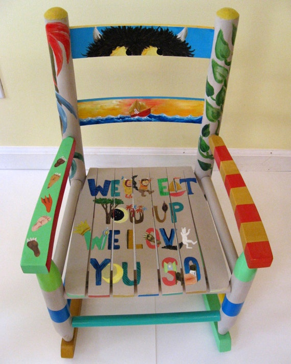 Custom Painted Personalized Childrens Rocking Chair