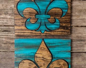 Wood art Fleur de Lis set