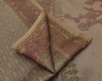 Vintage Clothing Indian Dress 100% Pure Silk Saree Mauve Floral Printed Sari Craft Fabric 5YD VPS44489