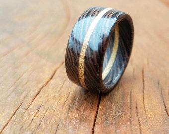 Wenge and Black Locust Exotic Wooden Ring. Ultraviolet Fluorescent.
