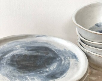 stoneware white and blue ceramic dinner plates