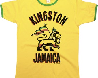Kingston Jamaica Mens RINGER T-Shirt Retro Style Cool Fashion New