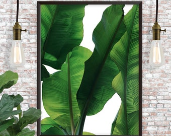 TROPICAL BANANA LEAF Palm Branches Digital Print // Instant Download