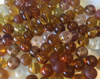Brown/Amber 6mm Glass Bead Mix