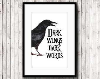 Poster Inspirational, quote print home decor, dark wings dark words, printable decor, poster digital, typography printable quote, book quote