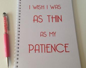 Slimming World Friendly - Food Planner Diary - Diet Tracker - Food Log - 8 Week / 12 Week Planner - Thin Patience