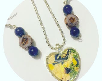 Dried flower necklace set