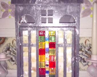 Handmade Mosaic Lantern with Mother Of Pearl Inserts