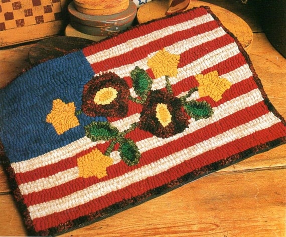 Primitive American Flag And Flowers Rug Hooking Pattern Folk Art American  Flag Rug Hooking Pattern Printable PDF Instant Download From QuiltAndHook  On Etsy ...