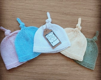 Handmade Baby Hats with top knot, available in multiple colours and sizes, from Preemie to 1-2 years, perfect Baby Shower/Christening gift!