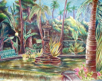 "Park Fountain (18"" x 24"", Colored Pencil)"