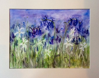 """Bluebell Meadow Watercolour Painting 20x16"""""""