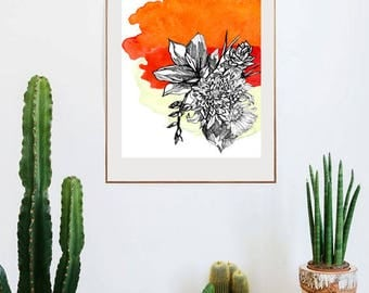 Botanical floral illustrated print - A3 & A4 Sizes available.