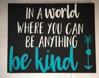 Be Kind Wall Decor, Canvas Print