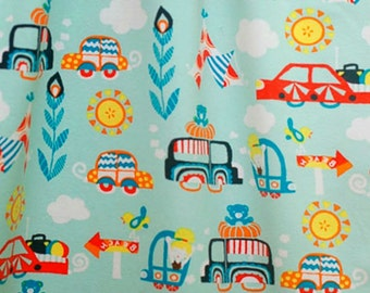 Knit Fabric by Lillestoff - EXCURSION TOUR CARS - boys fabric - Summer Organic Jersey Knit Fabrics - Light Blue - Automobiles - European