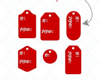 Gift Tag SVG, Present Name Tags DXF, Cutting Files, Clipart, Printable,