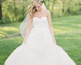 Wedding Tulle Veil, Soft Bridal Veil , Fingertip Length Tulle Veil