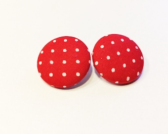 Button earrings, fabric button earrings, ear studs, polka dots