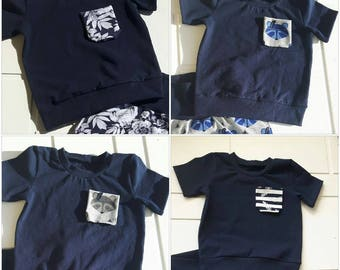 1 marine blue T-shirt with Pocket with