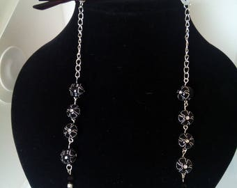 Silver and black bead glasses , spectacles chain / strap