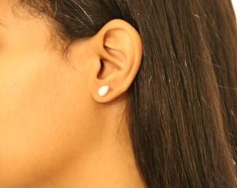 Minimalist Stud Earrings, Tear Shape Carved Natural Larimar Pectolite Semi Precious Stone, Small