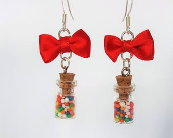 Cute Squee Kawaii Candy Jar Sprinkle Earrings with Red Bows Jewellery Jewelry