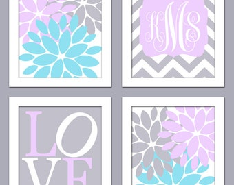 Baby Girl Nursery Flower Pedals with Monogram on Chevron