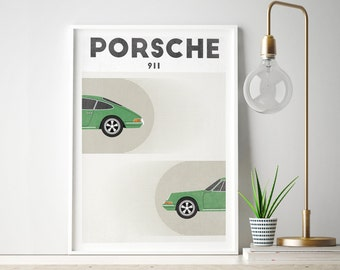 Porsche 911, Porsche Poster, Classic Car print, Retro Art, Scandinavian Art, Mid Century, Digital Download, Printable Wall Art