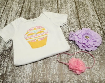 baby girl cupcake bodysuit with pink and lavender headbands, purple yellow cupcake one piece, baby girl lavender cupcake outfit, 18 months
