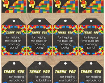 Instant Download|Lego|Thank You Tags|Favor Tags|Lego Party|Lego Birthday|Legos|Customize|Personalize|Lego Thank You Tags|Lego Favor Tags|