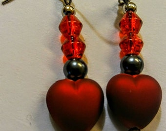 Beaded drop Heart earrings